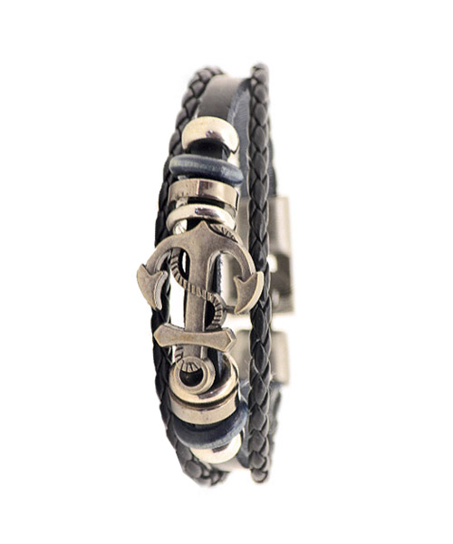 Leather braided anchor bracelet for boys.