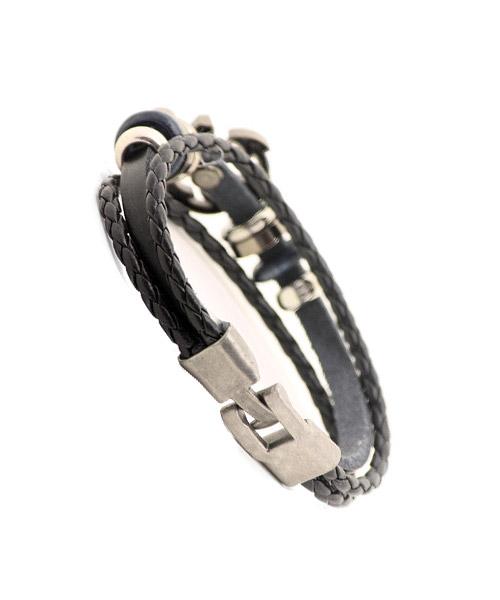 Leather braided anchor bracelet for boys.