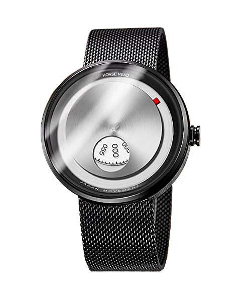 Rotating multi-disc binary black mens watch.
