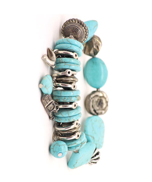 Turquoise Beads Trinkets Charms Girls Bracelet.