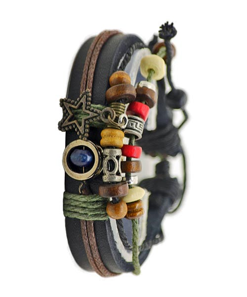 Multilayer Leather Beaded Charms Bracelet.