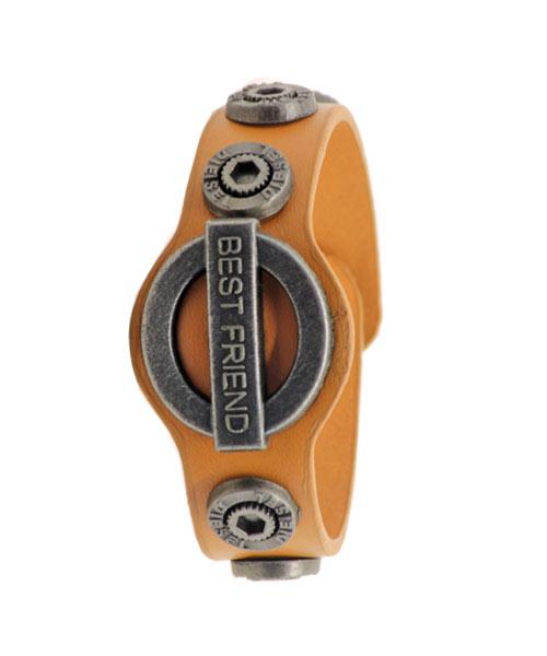 Light Brown Leather Bracelet for Boys Men with Best Friend Emblem.