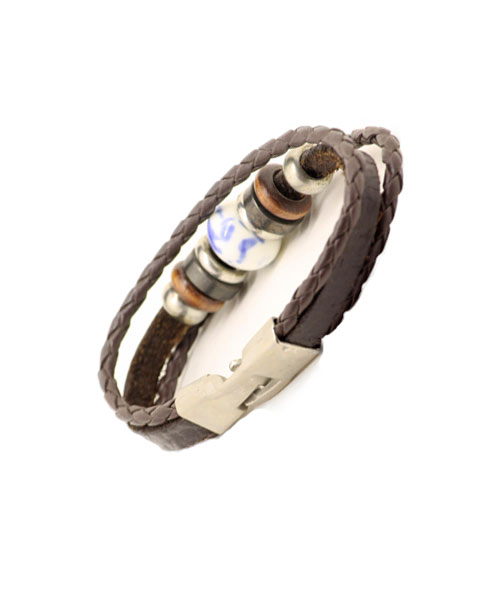 Girls Classic Triple Layer Braided Leather Rope Bracelet with Beads & Trinkets.