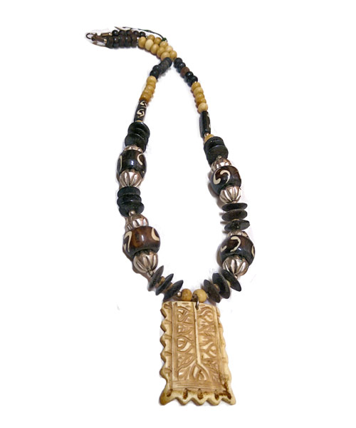 Ethnic banjara style multi beads brown necklace.