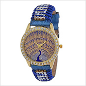Bronze Blue Ethnic Peacock Print Girls Hand Watch