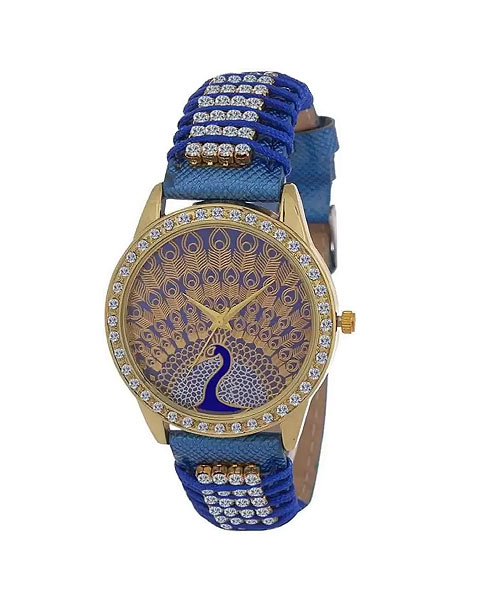 Bronze blue diamond studded ethnic watch for girls.