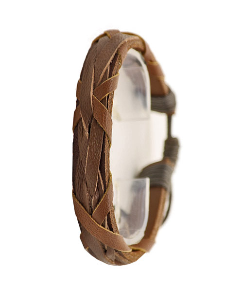 Single Strap Inter Woven Brown Unisex Bracelet.