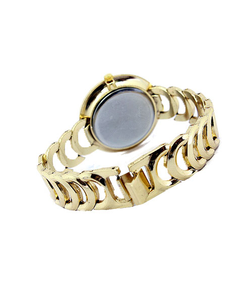 Round Gold Faux Diamond Watch for Women.
