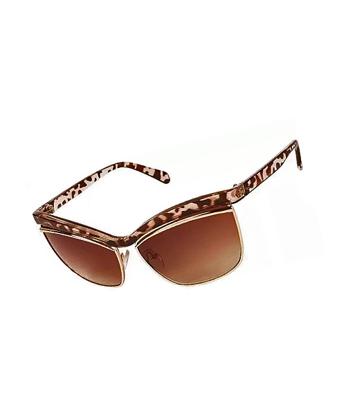 Dual tone brown gold Cateye girls sunglasses.