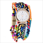 Colored Beads Corded Chain Alloy Girls Watch