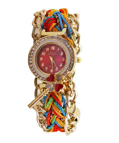 Corded Strap Diamond Studded Gold Watch.