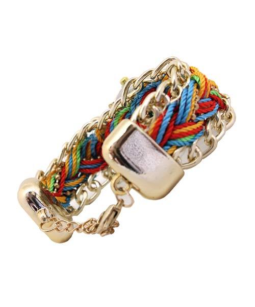 Corded Strap Diamond Studded Gold Watch.