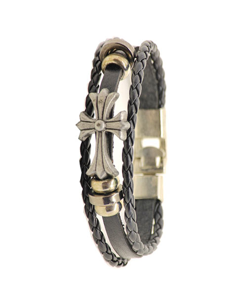 Multi-layered Braided Black Leather Bracelet Unisex with CROSS Emblem.