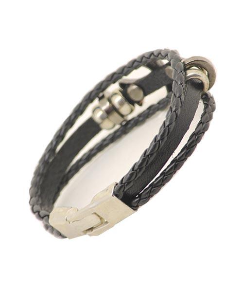 Multi-layered Braided Black Leather Bracelet Unisex with CROSS Emblem.