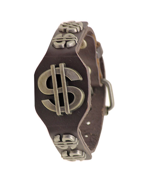 Rugged, Brown Bracelet for Boys with Dollar Emblem.