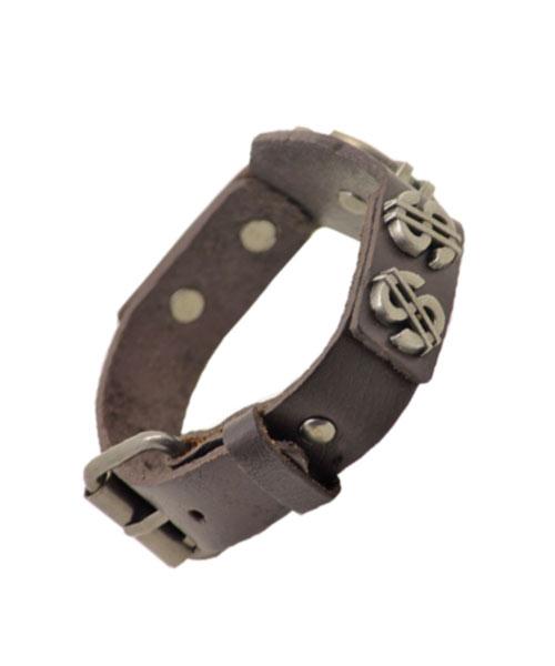 Rugged, Brown Bracelet for Boys with Dollar Emblem.