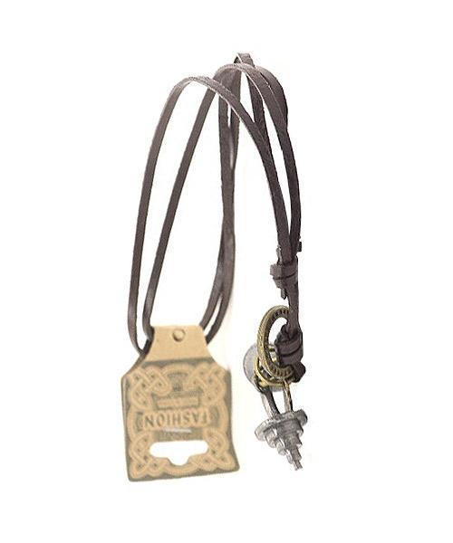 Mens boys dumbbell charm zinc leather pendant.