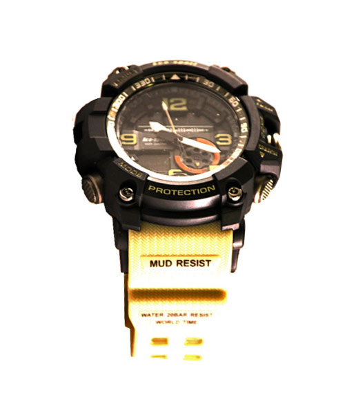 Mens sports watch – cream strap.