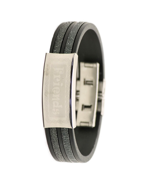 Unisex Silicone Bracelet Friends Silver and Black.