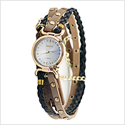 Corded Round Chain Gold Watch Ethnic