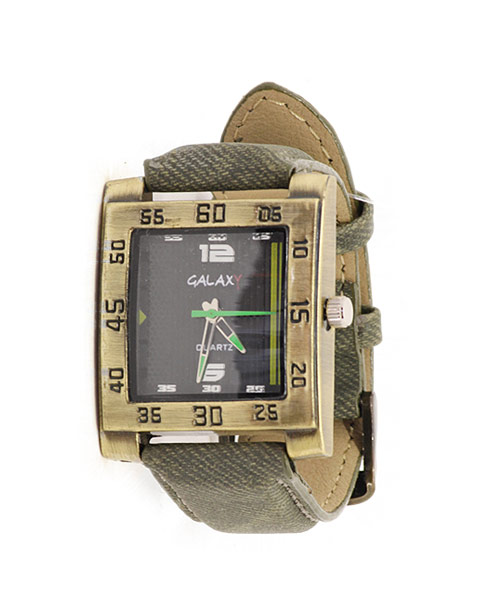 Brushed brass square watch for men.