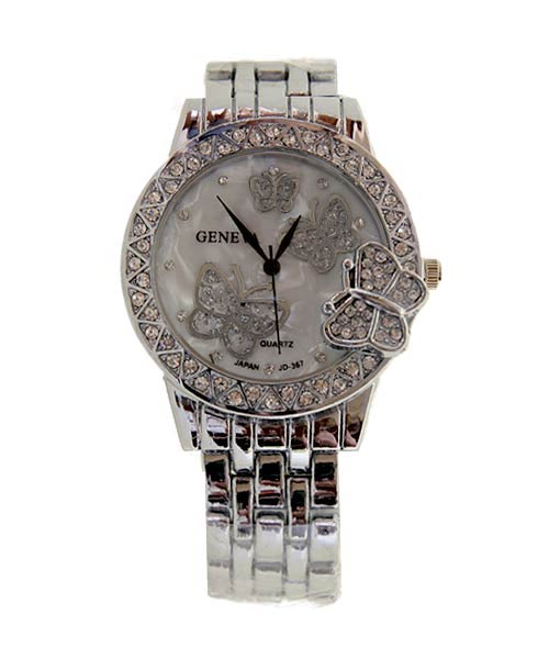 Geneva Silver Round Ladies Watch.