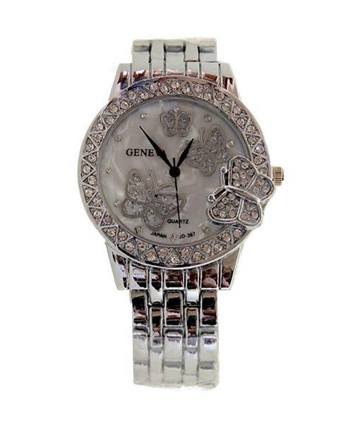 Geneva Silver Round Ladies Watch.