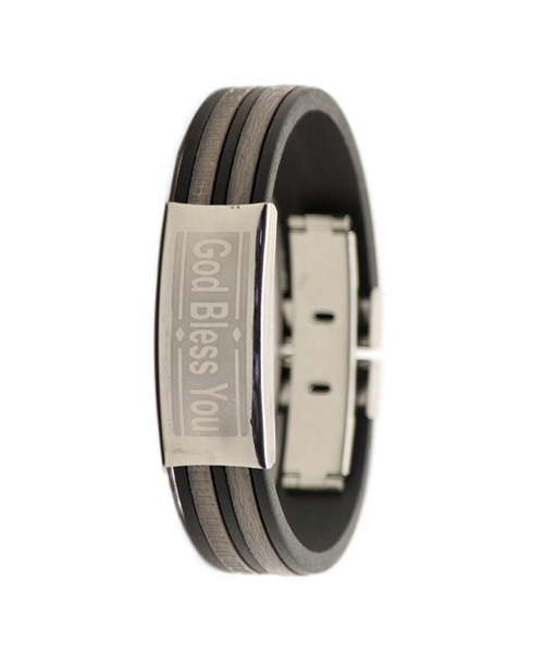 God Bless you silicone bracelet silver and black.