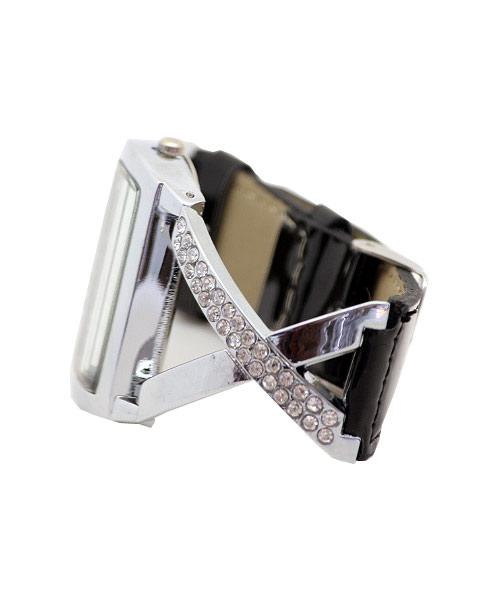 Designer silver black strap girls watch.