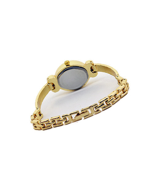 Analog black dial women's oval watch.