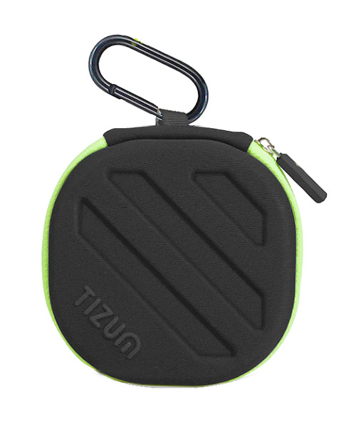Tizum hard shell green black square carrying case.