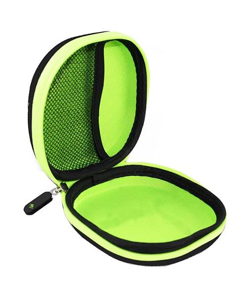 Tizum hard shell green black square carrying case.