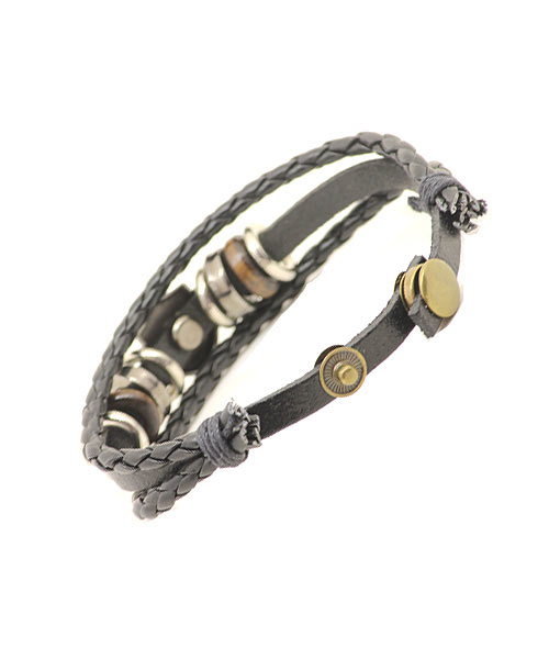 Harley boys leather bracelet with metal and bead rings.