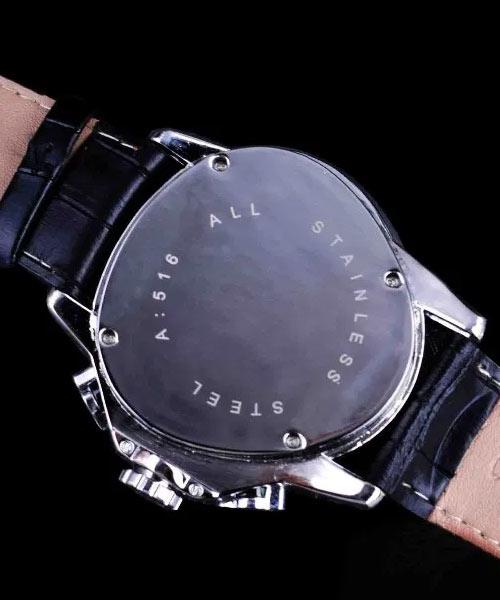 6516 Jaragar mens triangle leather watch.