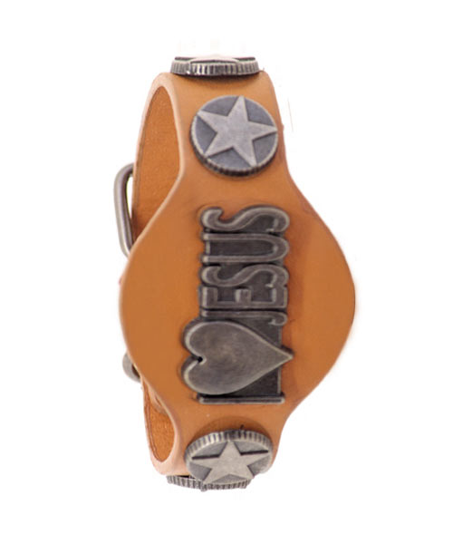 I Love Jesus unisex genuine leather bracelet.