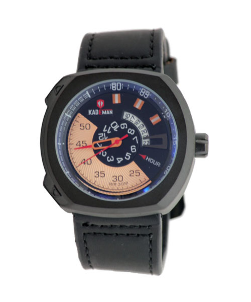 Kademan 407G PU leather sports watch.