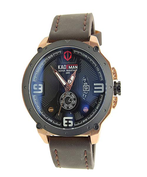 Kademan 6154 black gold mens watch.