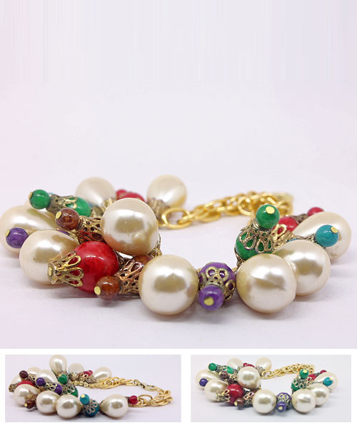 Colorful Beaded Teardrop Pearl Gold Link Bracelet.