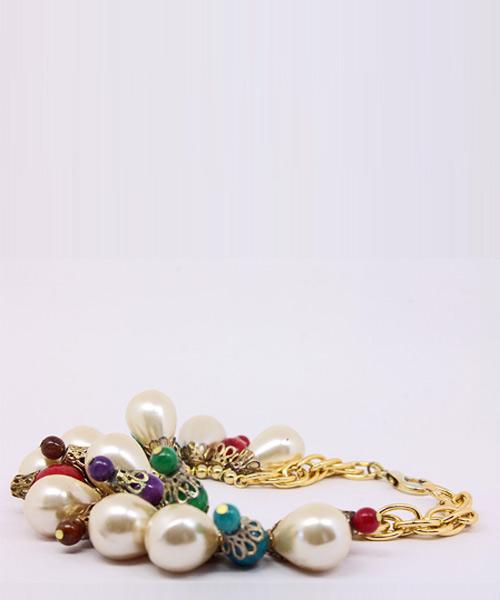 Colorful Beaded Teardrop Pearl Gold Link Bracelet.