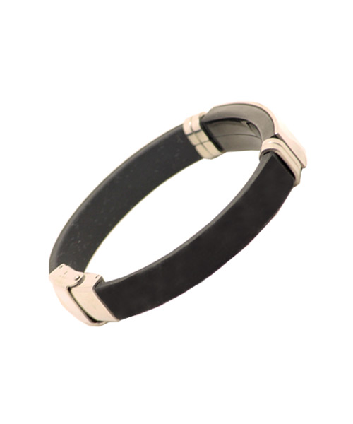 Unisex Rubber / Silicon Bracelet with Chrome Emblem and Rings.