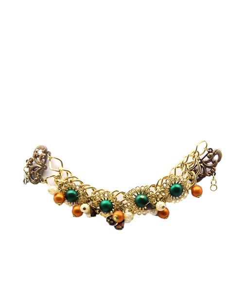 Multi-strand gold chain beaded girls bracelet.