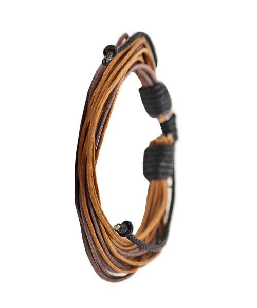 Multi strand mens leather bracelet.