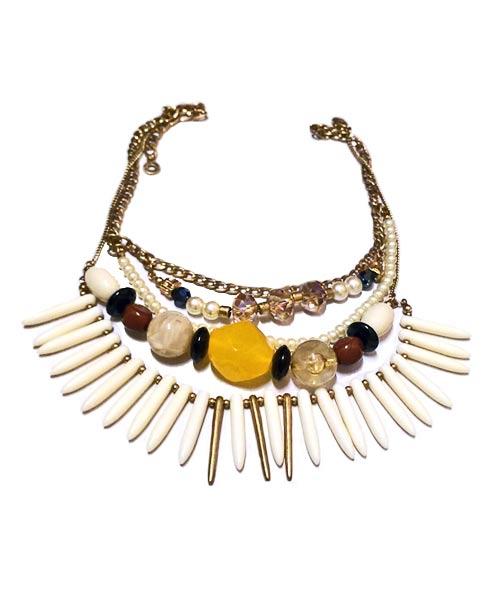 Multi string matt gold leaves necklace.