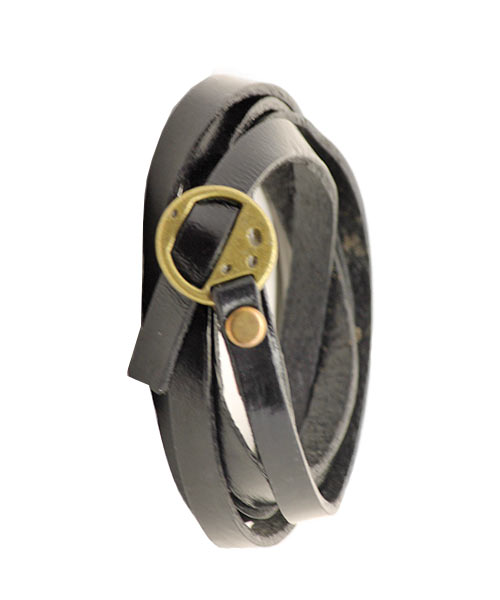 Boys Mens Multi-layer Black Leather Flat Design with Bronze Charm.