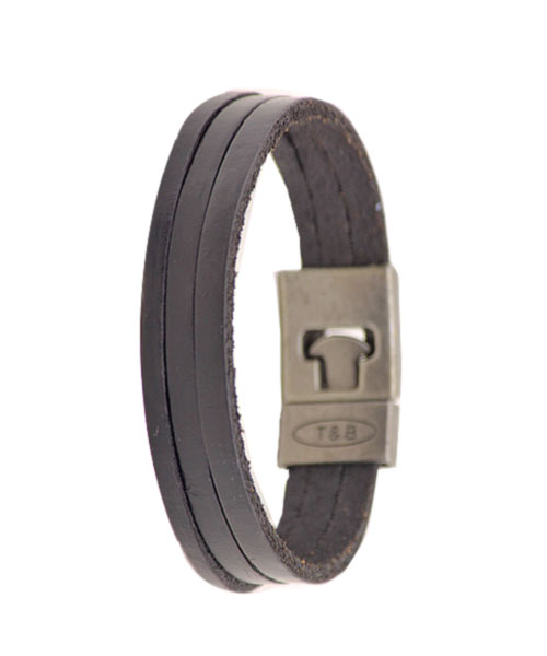 Simple Three Layered Black Leather Unisex Bracelet.