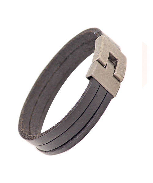 Simple Three Layered Black Leather Unisex Bracelet.