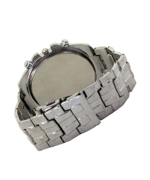 Mens silver metal watch faux dials.