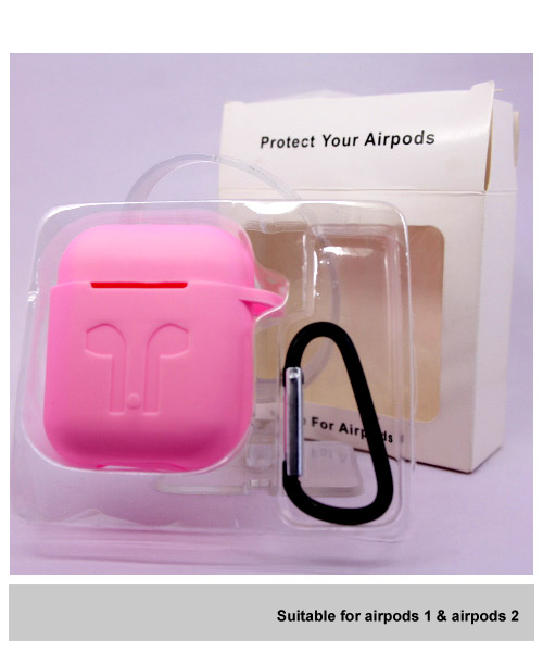 Silicone Apple Airpods case pink.