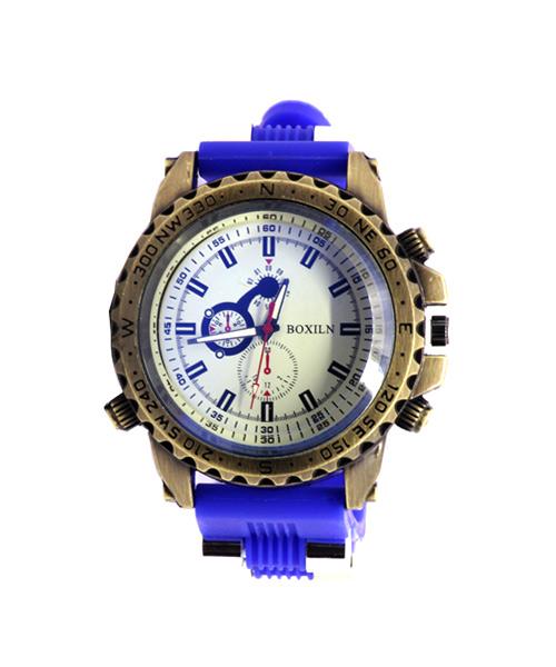 Bronze blue sports watch.