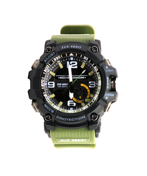 Mens sports watch – green strap.